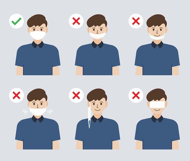 フェイスマスクを着用する間違った正しい方法のイラスト。