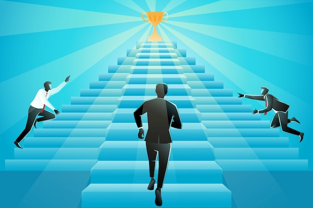 Иллюстрация трех бизнесменов, бегущих по лестнице к успеху