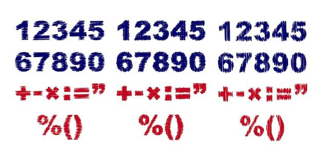 3つの異なる落書きの描かれた数字のイラスト