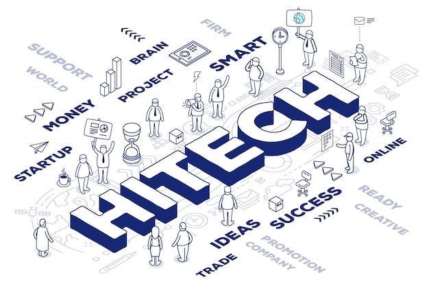 Иллюстрация трехмерного слова hitech с людьми и теги на белом фоне со схемой.