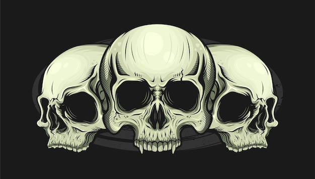 상세한 3 개의 두개골 머리의 그림