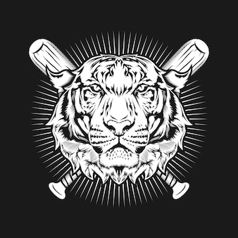 虎の頭と野球のバットアートの詳細なデザインのイラスト