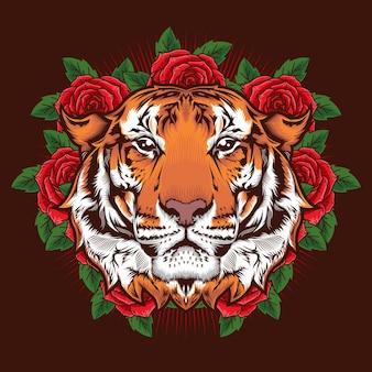 Иллюстрация детальной концепции дизайна головы тигра и роз