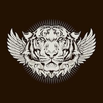Иллюстрация головы тигра и детальный дизайн крыльев