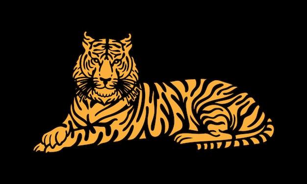 빈티지 손으로 그린 스타일에서 호랑이의 그림