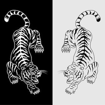 Иллюстрация татуировки тигра в черно-белом. вектор