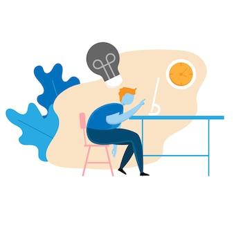Иллюстрация усталый бизнесмен и нет понятия, мультфильм вектор