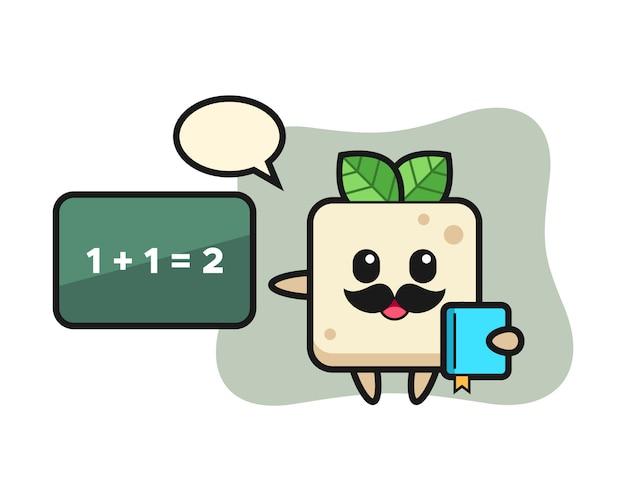 先生としての豆腐キャラクターのイラスト、tシャツのかわいいスタイルデザイン