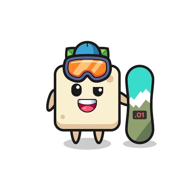 スノーボードスタイルの豆腐キャラクターのイラスト、tシャツ、ステッカー、ロゴ要素のかわいいスタイルのデザイン