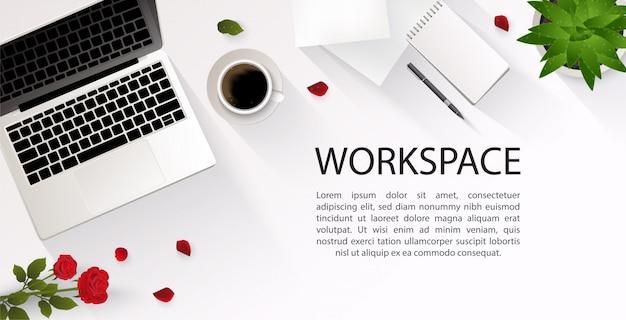 トップビューのオフィス、ワークスペース、テキストのための場所のイラスト