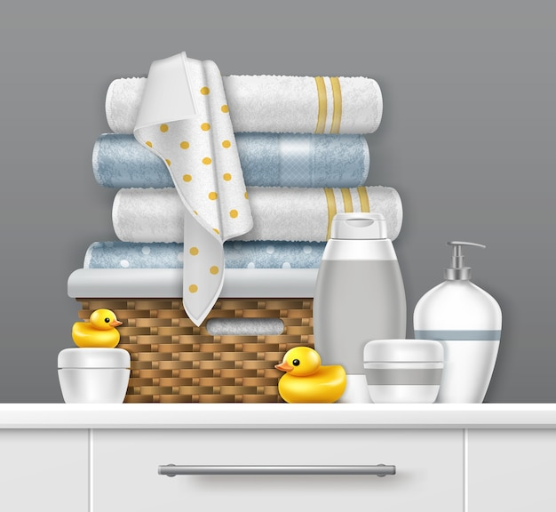 棚の上の籐のバスケットのタオルのイラスト