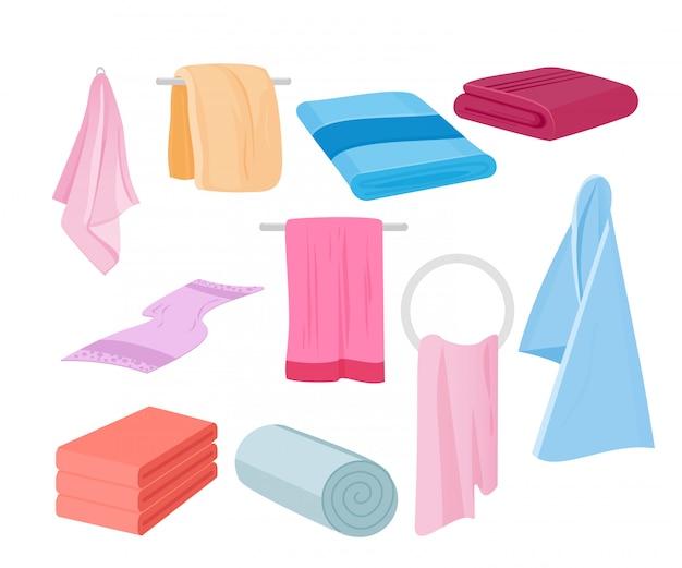 Иллюстрация набор полотенец. ткань полотенце для ванны, иллюстрации мультфильма ткани полотенца в плоском мультяшном стиле.