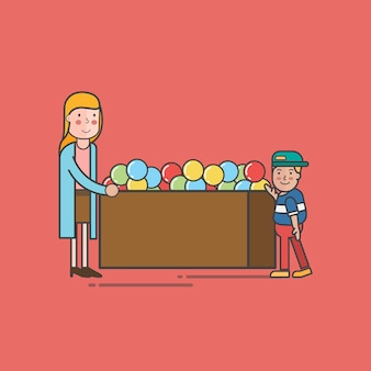 Illustration of toy store vector set