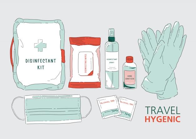 旅行消毒剤キットのイラスト。健康とウェルネスの向上。細菌、バクテリア、ウイルスから身を守りましょう。コロナウイルス(covid-19)。