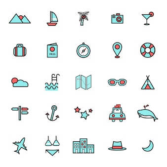 Illustration of travel icons set