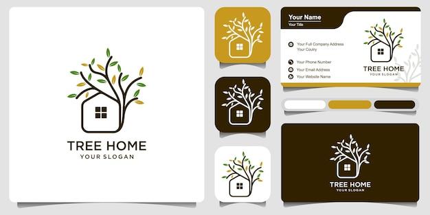 Иллюстрация шаблона дизайна логотипа дома на дереве с визитной карточкой. дерево дома логотип дизайн вектор, природа эко дом логотип