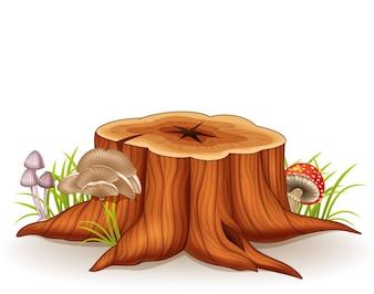 Illustration of tree stump and mushroom