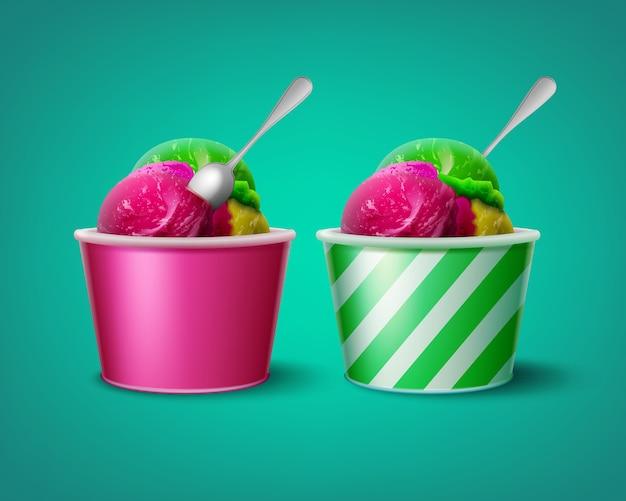 Иллюстрация тройных шариков мороженого в полосатых и розовых бумажных стаканчиках
