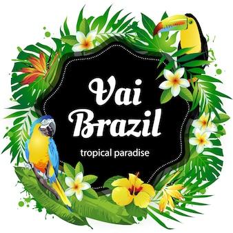 Иллюстрация тропических птиц, цветы, листья.