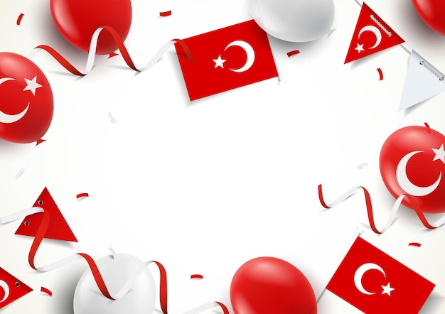 Иллюстрация праздника турции. фон с воздушными шарами, флагами