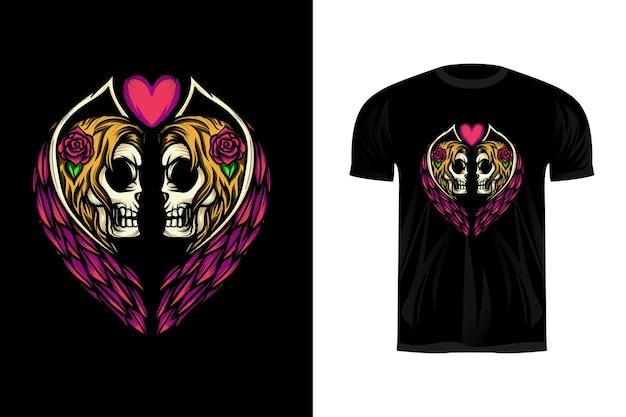 Tシャツデザインのツインエンジェルスカルのイラスト