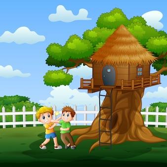 Иллюстрация двух мальчиков боевых действий