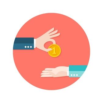 Иллюстрация двух бизнесменов деньги монета круг плоский значок