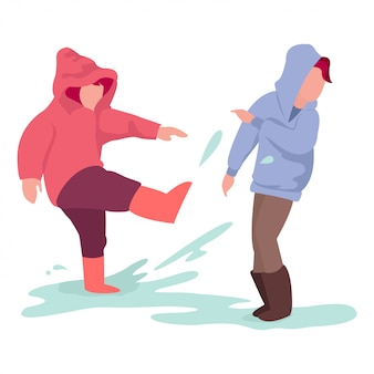 Иллюстрация двух детей, играющих в середине сезона дождей за пределами дома