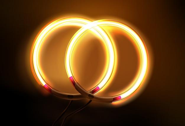 Иллюстрация двух круглых неоновых светодиодных ламп
