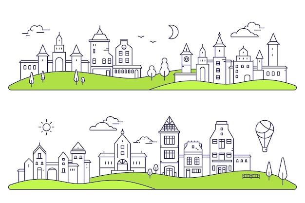 흰색 바탕에 두 개의 상세한 도시 풍경 그림