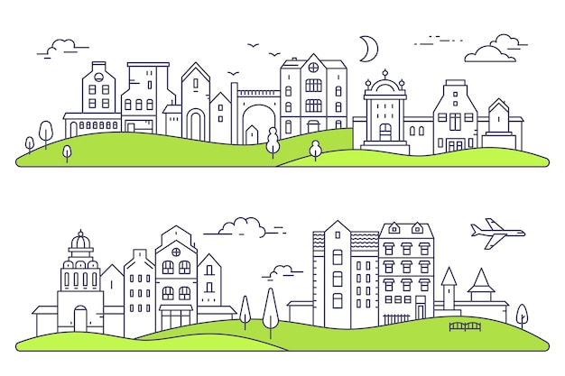 두 개의 상세한 도시 풍경 그림