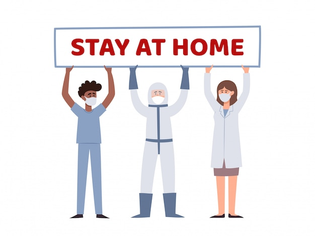 2人の医師とポスターを保持している男性看護師のイラスト白で隔離される家に滞在します。都市の大気汚染、コロナウイルスからの予防マスクのヨーロッパとアフリカの医療従事者。