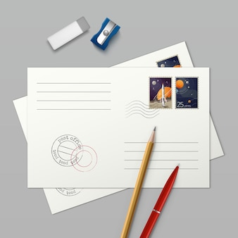 Иллюстрация двух конвертов с почтовыми марками и канцелярской ручкой ластиком и точилкой