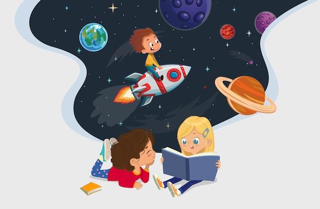 바닥에 앉아 우주 비행사 모험에 관한 책을 읽는 두 소녀의 그림