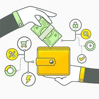 Иллюстрация двух рук с деньгами и кошелек на светлом фоне. зеленый и желтый цвет.