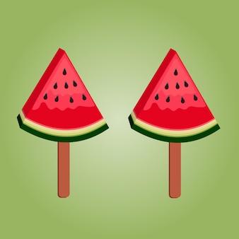 삼각형 모양의 빨갛게 익은 수박 조각에 막대기에 아이스크림 두 개를 넣은 그림
