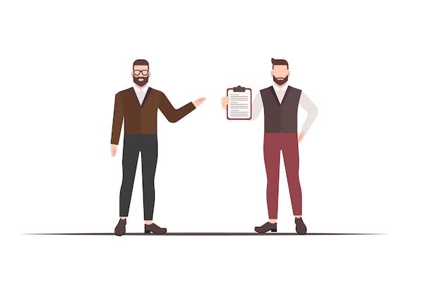 Иллюстрация двух мужчин, обсуждающих бизнес-план