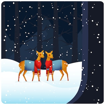 降雪の森の背景に立っている2つのトナカイのイラスト