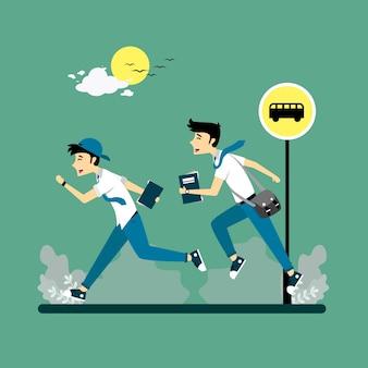 走っている2人の学生のイラスト