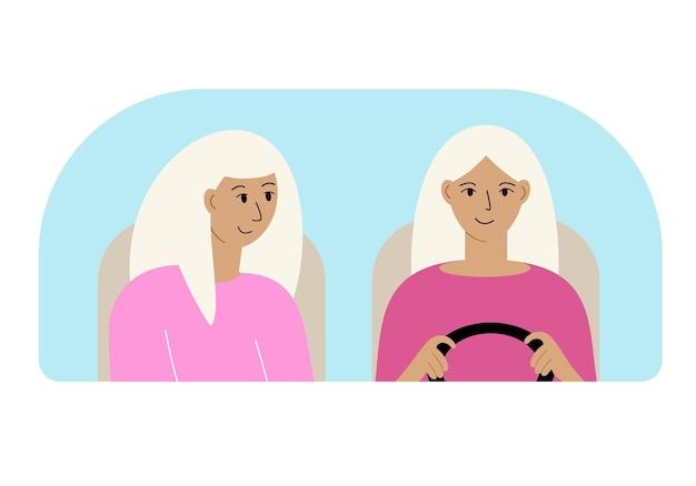 Иллюстрация двух женщин в машине за лобовым стеклом.