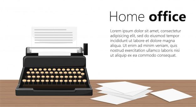 タイプライターのイラスト。木製のテーブルに紙のシートと黒のレトロタイプライター。白い背景のイラスト。あなたのテキストのための場所