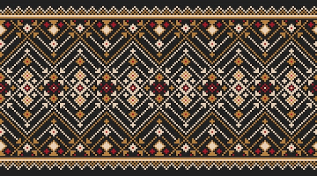 ウクライナの民俗のシームレスパターン飾りのイラスト。民族の飾り
