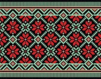 Illustration of Ukrainian folk seamless pattern ornament