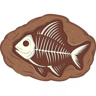 地下魚の化石のイラスト