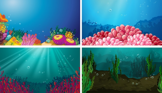 Иллюстрация набора подводных сцен