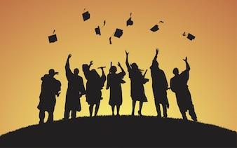 Illustration of university graduates