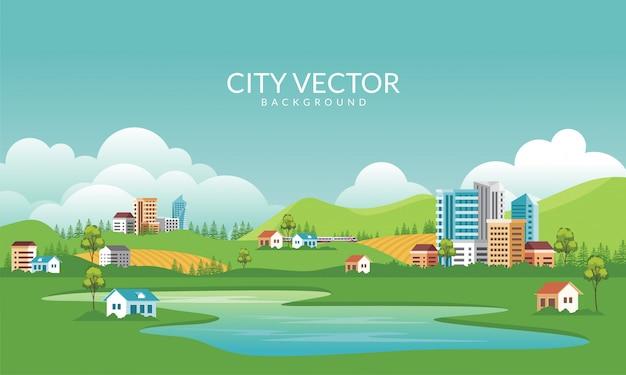 住宅都市のスカイラインのイラスト