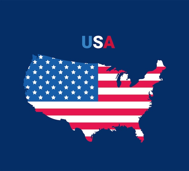 アメリカ地図のイラスト