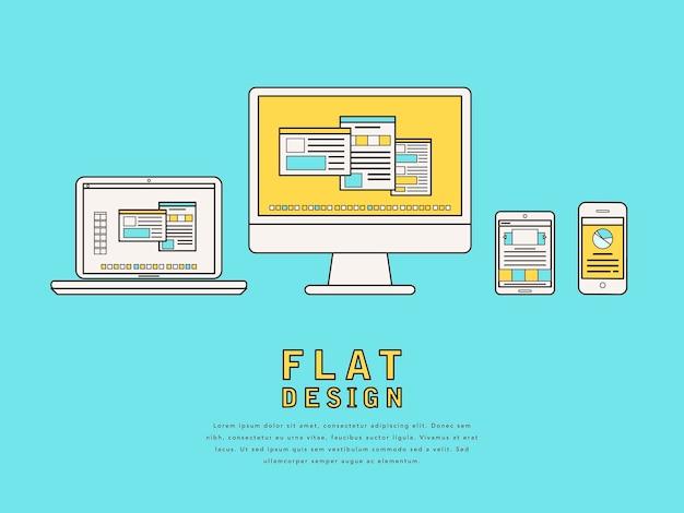 フラットラインスタイルのユーザーインターフェイスデザインの図