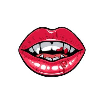 血の吸血鬼の唇のイラスト。ハロウィーンの血まみれのセクシーな口